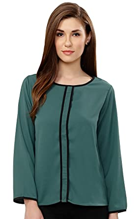 f7eba0158370c6 Serein Women's Top (Green Blouse with Double Piping) (Full Sleeves ...