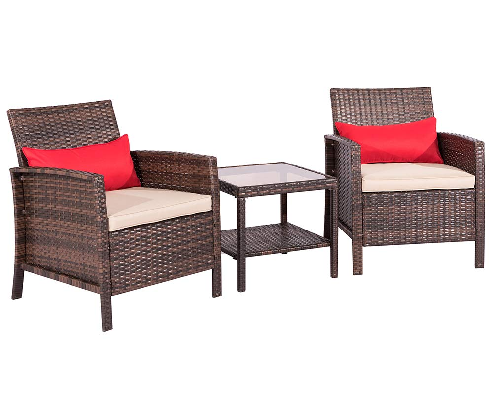 Suncrown Outdoor Furniture Wicker Chairs with Glass Top Table (3-Piece Set) All-Weather | Thick, Durable Cushions with Washable Covers | Porch, Backyard, Pool or Garden