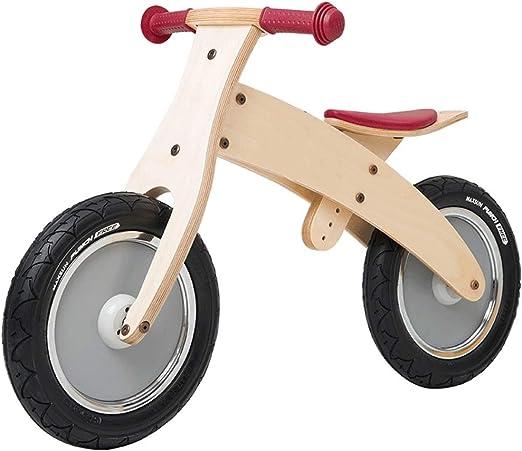 YUMEIGE Bicicletas sin Pedales Bicicletas sin Pedales Madera, neumáticos de Goma, Bicicleta de Equilibrio for niños Montaje rápido, cojín del Asiento Ajustable en Altura, 12.9-17.7in (Color : Beige): Amazon.es: Jardín