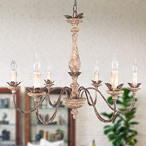 French Traditional Elegant Wood and Iron Chandelier, 6-Light Distressed White and Bronze Pendant Lighting with Adjustable Chain