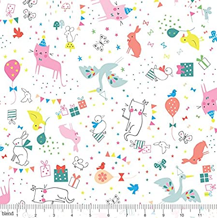 Polycotton Fabric NEW Crafts CAT LOVE FISH FELINE Metre Material Special Offer