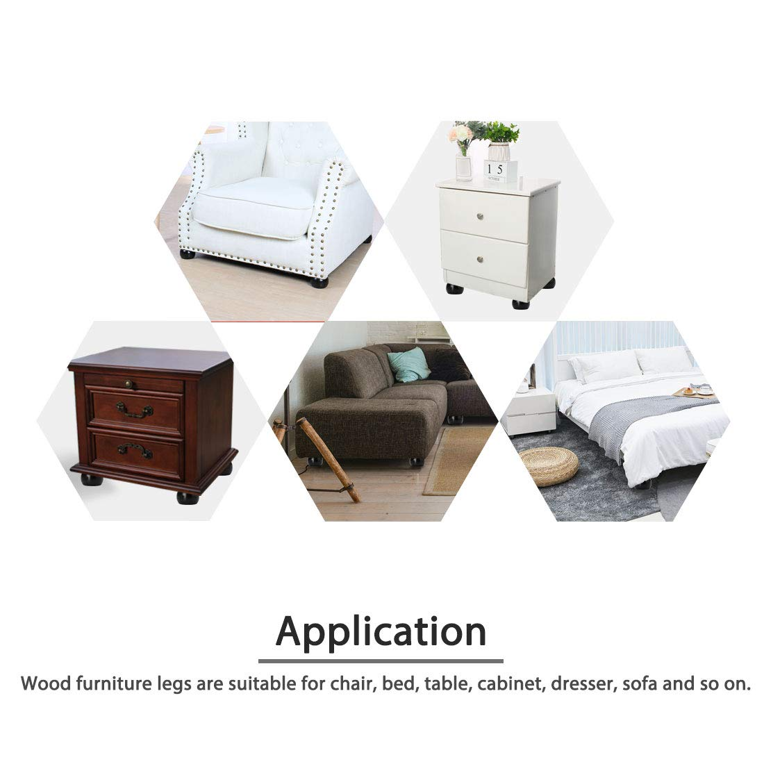 "12 Universal Brown Round Plastic Furniture Legs Feet 1.5""Sofa Couch Ottoman"