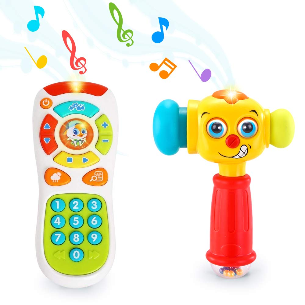 VATOS Baby Toys Set, Baby Remote Control Toy & Baby Hammer Toy for 12 to 18 Months up | Infant Toys with Lighting & Sound Baby Hammer & Remote Control Toys for 1 Year Old + | 12 Months + Baby Toddler