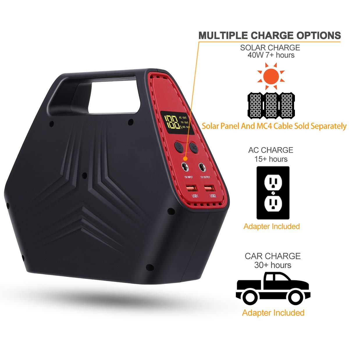 AWANFI 146Wh Portable Power Station, Quiet Gas-Free Battery Powered Generator with Dual 110V AC Outlet, 12V Output and Dual USB Quick Charge Port for Camping Tailgating Emergency Power Supply by AWANFI (Image #4)