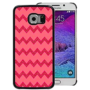 A-type Arte & diseño plástico duro Fundas Cover Cubre Hard Case Cover para Samsung Galaxy S6 EDGE (NOT S6) (Pink Lines Pattern Zig Zag)