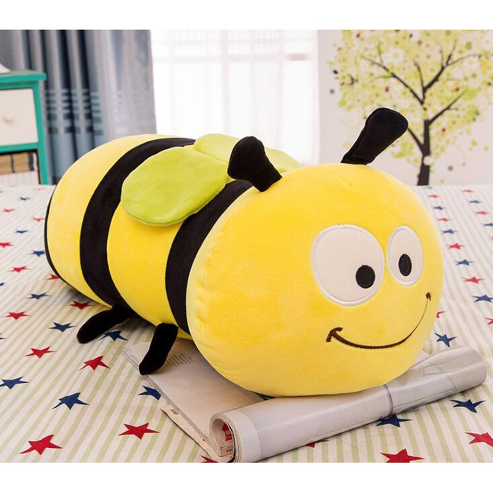 Dongcrystal 17.7'' Fuzzy Bumblebee,Soft Plush Bee Toy - Stuffed Animals Pillow