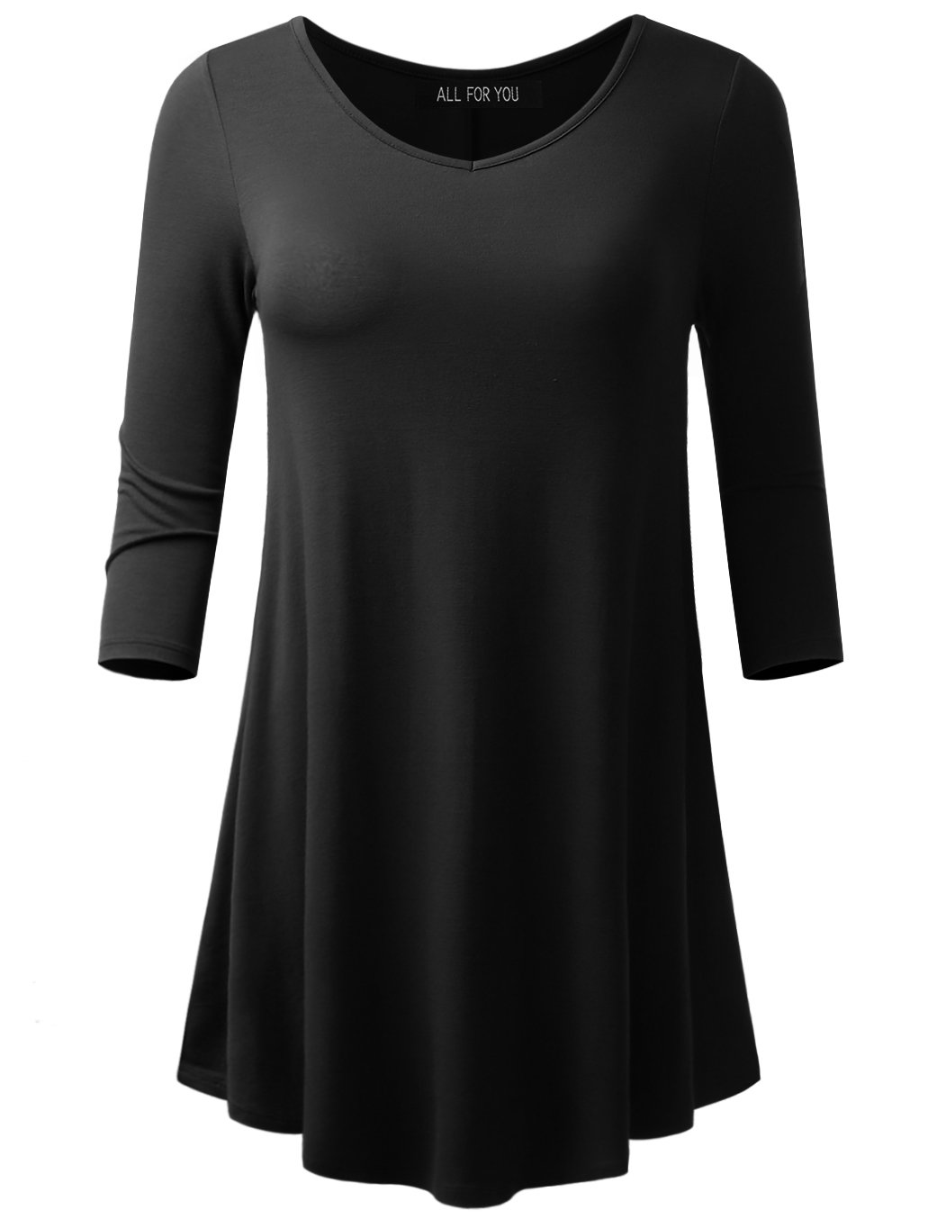 ALL FOR YOU Women's 3/4 Sleeve V-neck Flare Hem Tunic Black X-Large