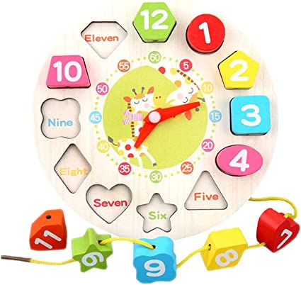 Wooden clock Puzzle Shaped Numbers For Time Removable Moving Hands
