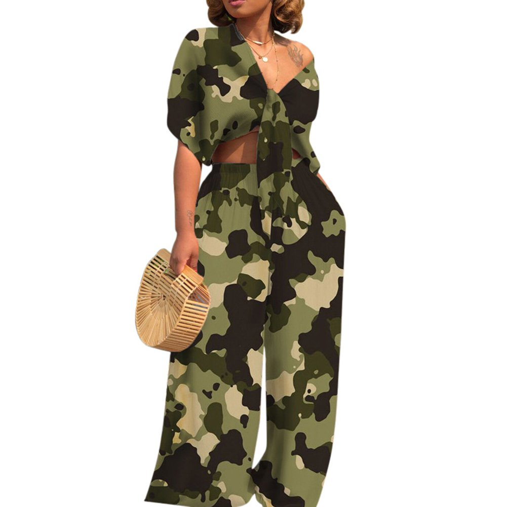 AEL Womens Sexy Tie Crop Top Wide Leg Long Pants 2 Piece Outfits Summer Short Sleeve Jumpsuits Set(Camouflage,XL)