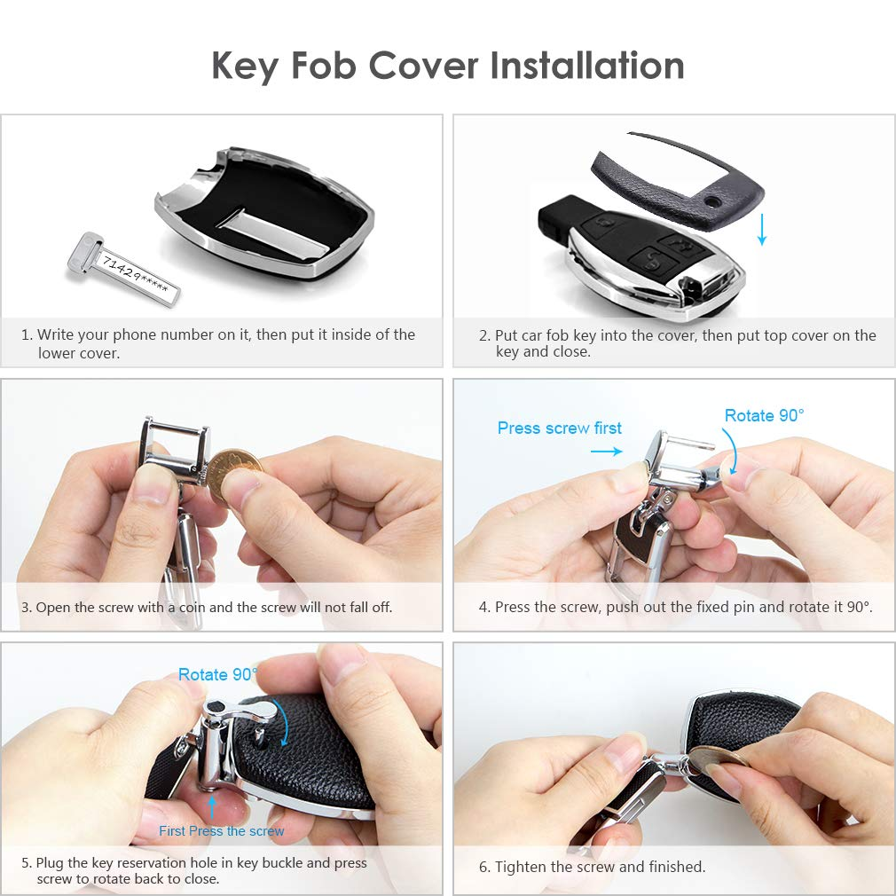 Black Smart Keyless Entry Remote Car Key FOB Case Cover Sleeve Holder Protector with Keychain for Mercedes Benz A C R E S M CLS CLK GLA Class VANZAVANZU Compatible Mercedes Benz Key Fob Cover