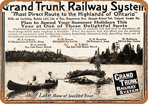 Wall-Color 9 x 12 METAL SIGN - 1910 Grand Trunk Railway - Vintage Look Reproduction ()