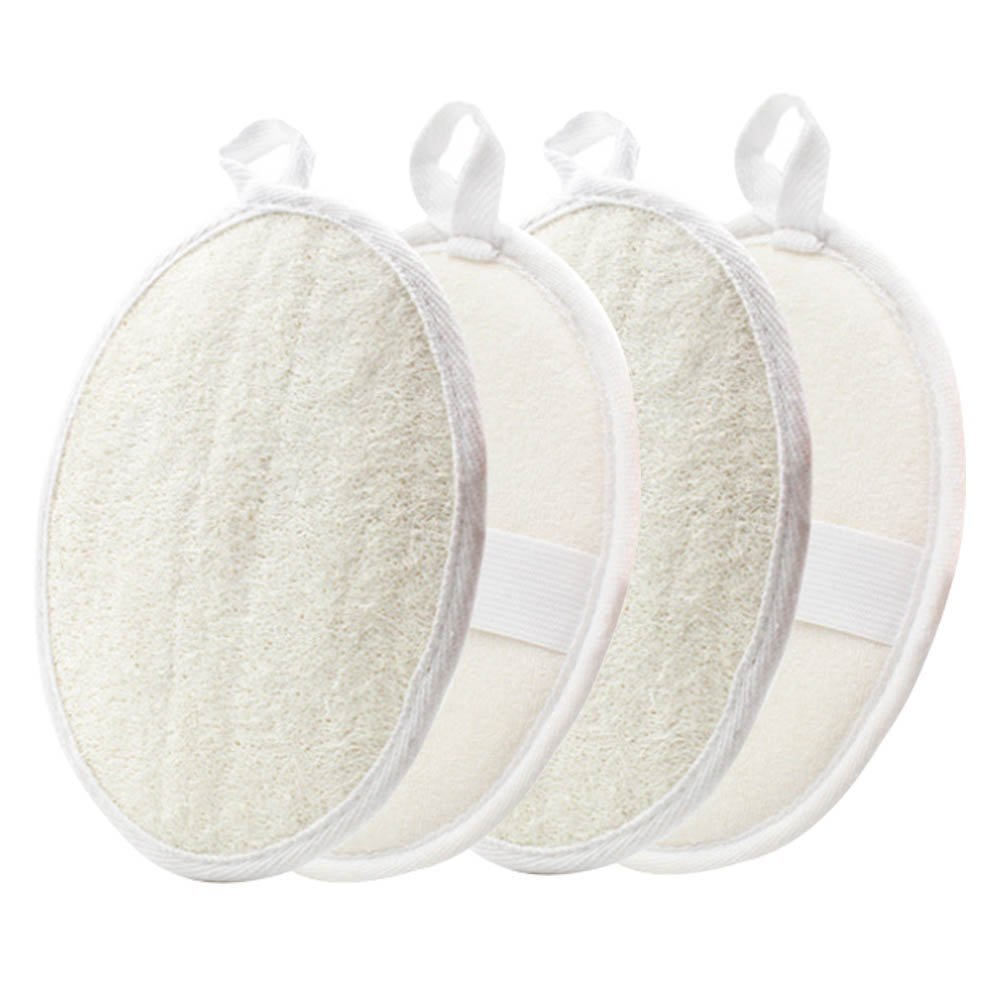 Exfoliating Loofah Pads-4 Pack YOSTAR 100% Natural Luffa and Terry Cloth Materials, Loofah Sponge Pads Scrubber Brush Close Skin For Men and Women