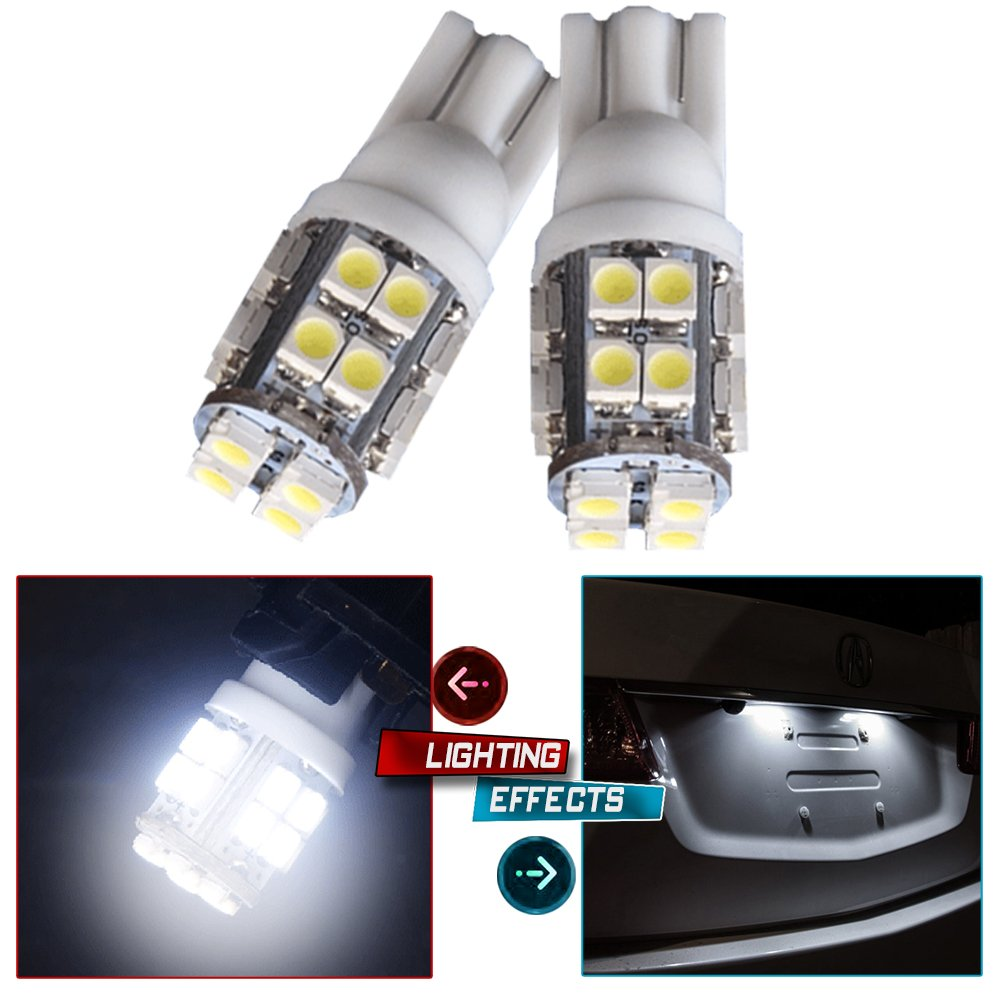 cciyu 194 Extremely Bright 6000K LED Bulbs 20-3528-SMD Light Lamp License Plate Light Lamp fit for 2015 Buick Enclave Encore LaCrosse Regal Verano Wedge T10 168 2825 W5W White Pack of 2
