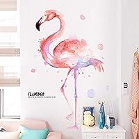 Pdrui Muurstickers voor Slaapkamer, Aquarel Flamingo Muurstickers als Muurdecoratie voor Woonkamer Kwekerij 90×138cm…