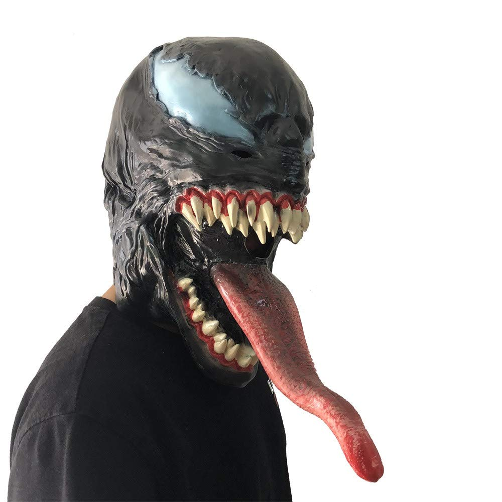 Scary Venom Latex Mask Long Tongue Cosplay Halloween Costume Props Fortnite mask for Halloween, Party, Christmas Winsummer