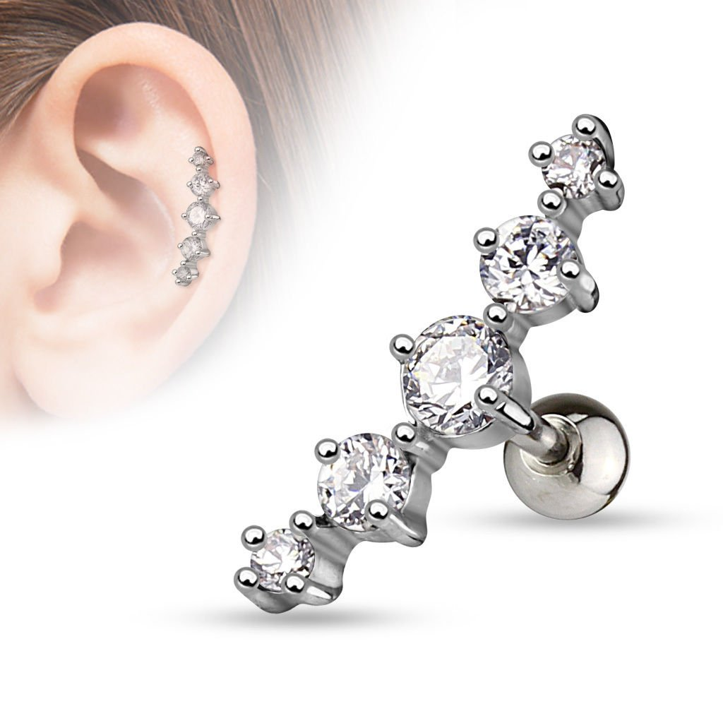 adit/_mc 1 Pc Clear Journey Curve 5 CZ Surgical Steel Helix Tragus Cartilage Barbell Stud Earring