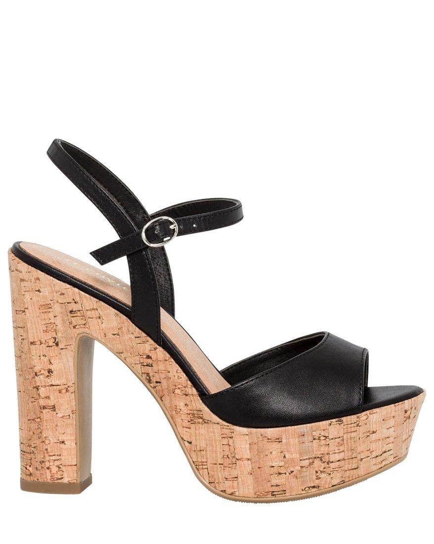 LE CHÂTEAU Women's Cork Block Heel Platform Sandal,40,Black