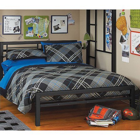 Black Metal Full Size Platform Bed Black Furniture Headboard Footboard and Rails Frame Industrial (Headboard Footboard Platform Rails)