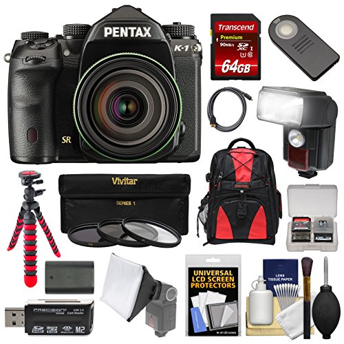 Pentax K-1 Mark II Full Frame Wi-Fi Digital SLR Camera & FA 28-105mm Lens with 64GB Card + Battery + Flash + Backpack + Tripod + Kit Pentax Slr Flash