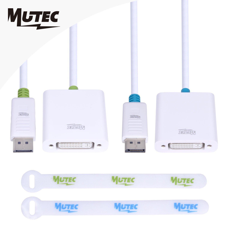 3 m MutecPower Cable 3 Metro Blanco - Macho a Macho a DisplayPort con 3 Bridas DP DP Mini-DisplayPort Resoluci/ón Ultra HD 4k