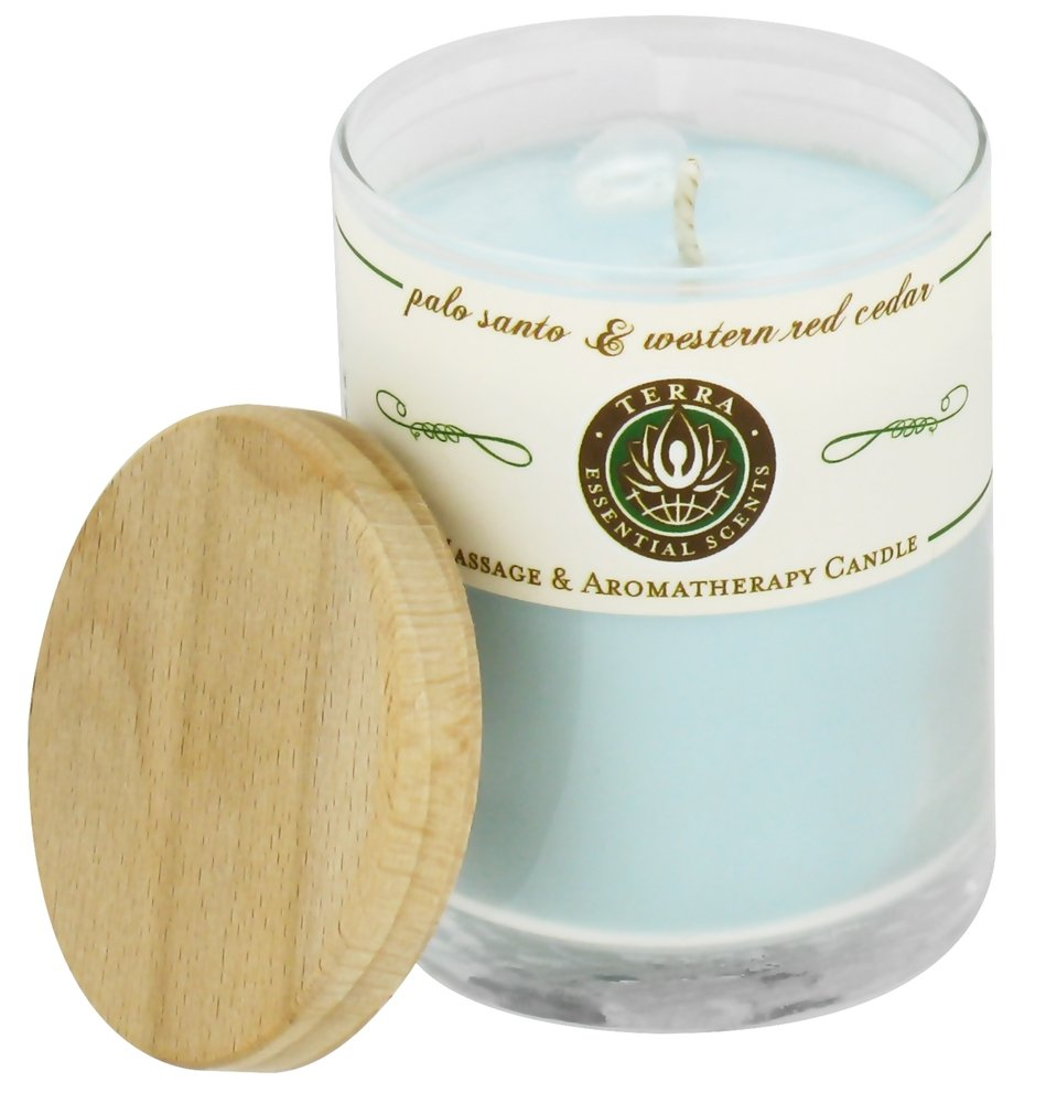 Terra Essential Scents - Massage & Aromatherapy Soy Candle Palo Santo & Western Red Cedar - 2.5 oz.