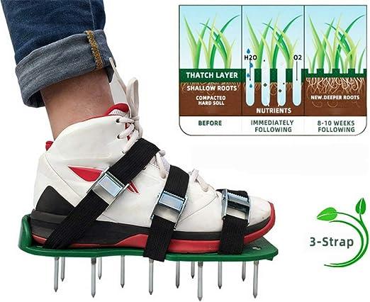 JFM - Zapatos de aireador de césped de jardín, 26 clavos, 6 hebillas de metal: Amazon.es: Jardín