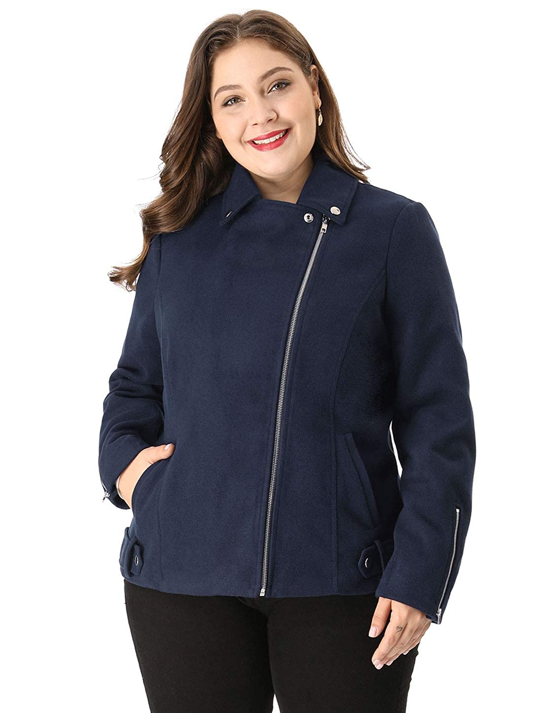 7920681cdef Agnes Orinda Women s Plus Size Convertible Collar Inclined Zip Closure Moto  Jacket at Amazon Women s Clothing store