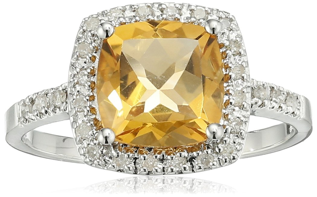 Sterling Silver Citrine and Diamond Cushion Halo Ring (0.14 cttw, I-J Color, I2-I3 Clarity), Size 7