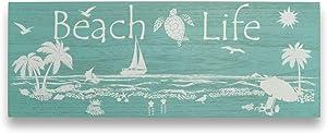 Beach Wall Art Coastal Decor for Home Tropical Inspired Beach Life - Sea Turtle, Starfish, Seashell, Sailboat & Your Chair Wood Plaque(6 X 16 Inches) - Beachy Ocean Theme Home House Bathroom Bedroom