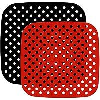 HEMOTON 2 peças de forros de fritadeira a ar perfurada reutilizável para fritadeira a ar perfurada de 19 cm, tapete de…