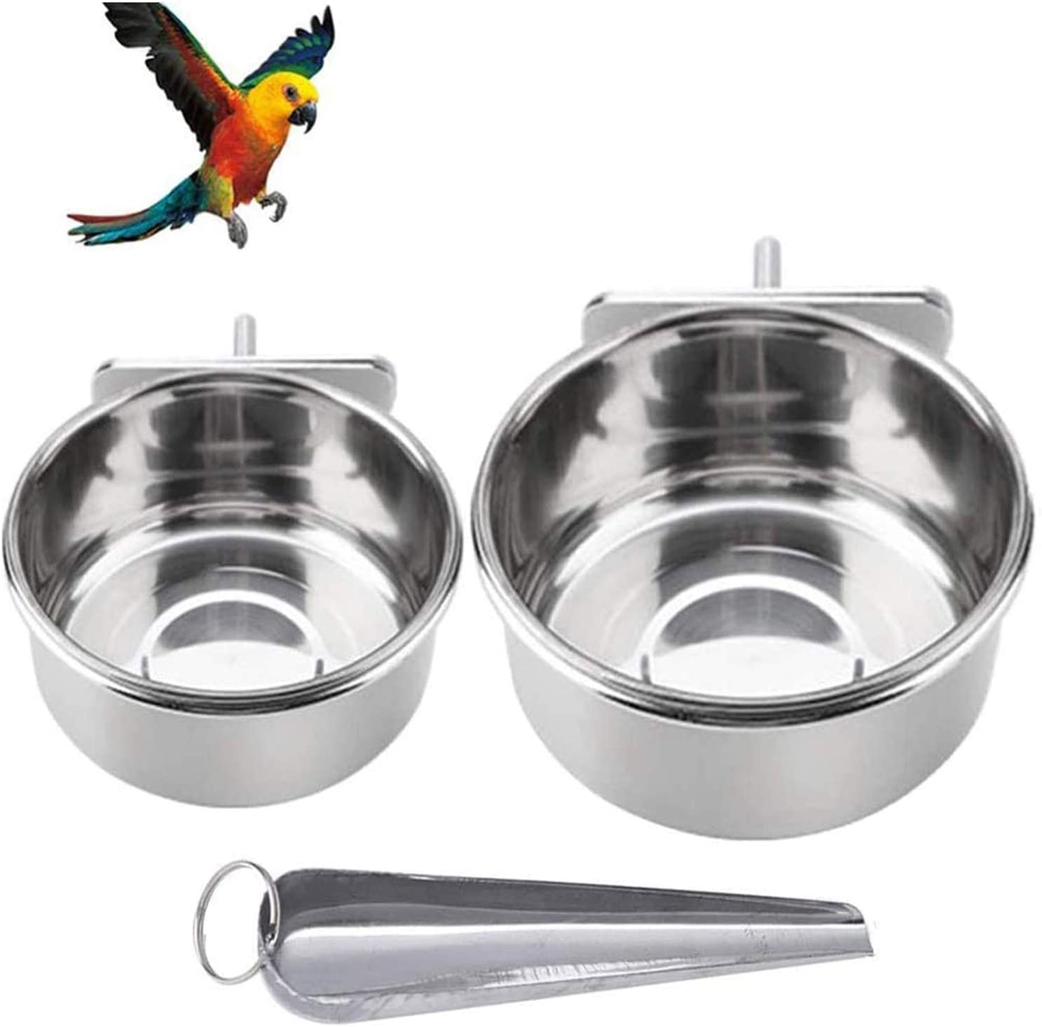 Parrot Feeding Bowls, Bird Cage Cups Holder - Stainless Steel Food and Water Dish, Bird Feeders with Clamp for Parakeet African Greys Conure Cockatiels Lovebird Budgie Chinchilla
