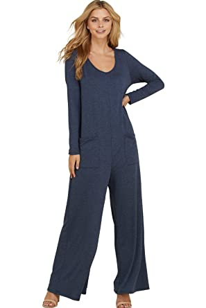 ba4fa9b830a1 Annabelle Women s Full Length Pocketed Back Button Keyhole Jumpsuit Navy  Small J8085