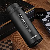 Black 650Ml Stainless Steel Flask Water Bottle Coffee Travel Mug Cup