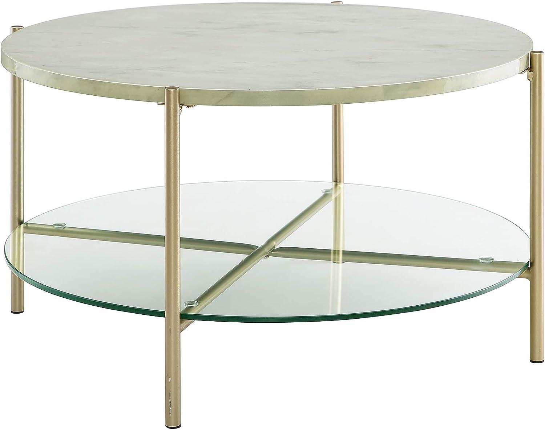 - Gold White Marble WE Furniture AZF32SRDCTMGD Modern Round Coffee