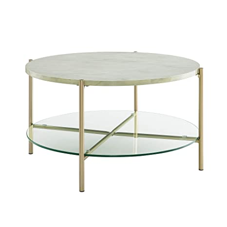 Magnificent We Furniture 32 Mid Century Modern Round Coffee Table Faux White Marble Gold Base Simplistic Accent Cocktail Table Home Interior And Landscaping Oversignezvosmurscom
