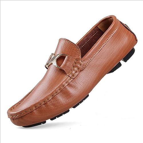 Nuevos Zapatos de Cuero para Hombre/Caballeros Slip Negro en una Amplia Variedad de Zapatos Casuales Zapatos de conducción Moda de Primavera y otoño (YAN): ...