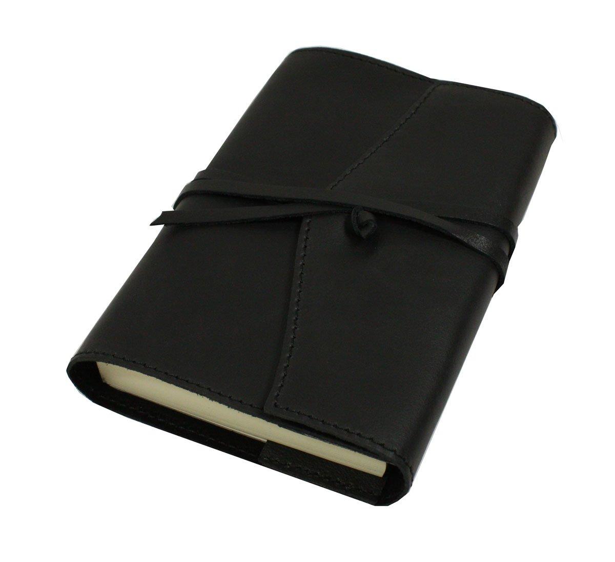 Papuro Milano Adressbuch aus italienischem Leder, handgefertigt, nachfüllbar,9x 13cm, Schwarz nachfü llbar