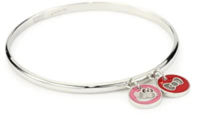 73fc44e59 Image Unavailable. Image not available for. Color: Hello Kitty Sterling Silver  Hello Kitty Enamel Silhouette Charm Bangle Bracelet