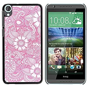 Paccase / SLIM PC / Aliminium Casa Carcasa Funda Case Cover - Wallpaper Pink White Pattern Spring - HTC Desire 820