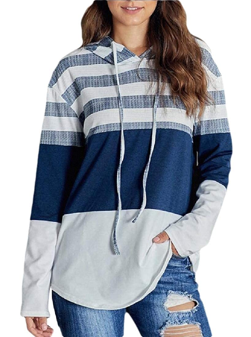 HANA+DORA Womens Fashion Hoodies Long Sleeve Drawstring Sweatshirts Color Block Striped Pullover Top
