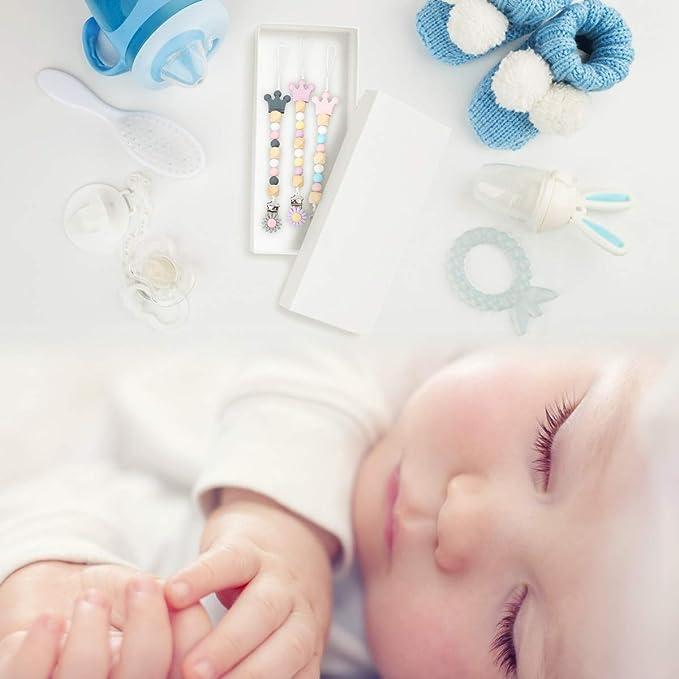 Cadenas para Chupetes 3 Piezas Chupeteros de Silicona sin BPA Sujetadores del Chupete de Mordedor para Bebé Soportes de Cadena de Chupete Pinzas de ...