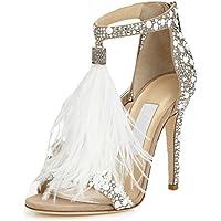 WSK Damen High Heels Hochzeit Schuhe Hot Sexy Feder Sandalen Feder Sandalen Hochzeit Schuhe Jazz Dancing