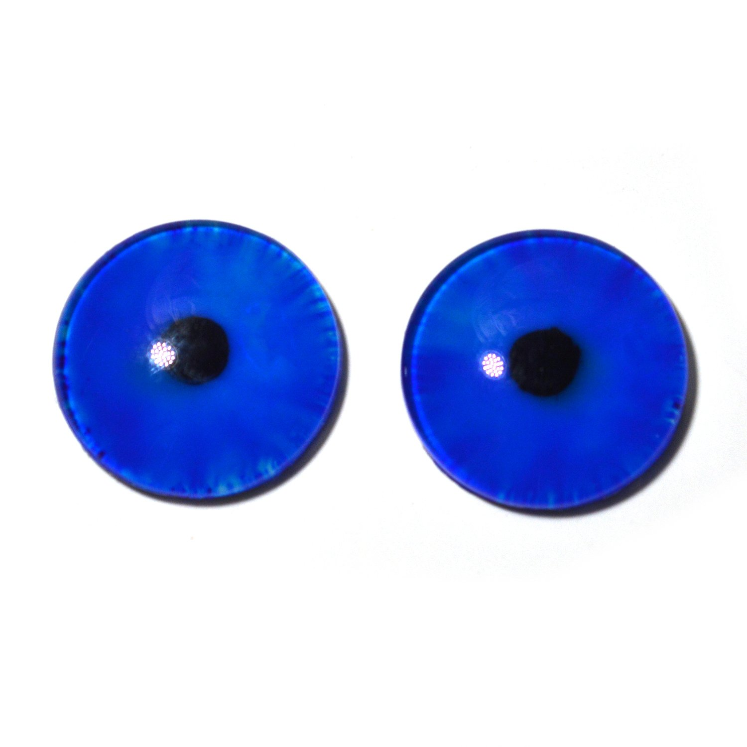 25mm Dark Blue Glow in the Dark Eyes - 1 Inch Glass Eyes Pair - Peel and Stick Adhesive Backing - For Art Dolls, Jewelry Making, Taxidermy, Scrapbooking, and More by Megan's Beaded Designs