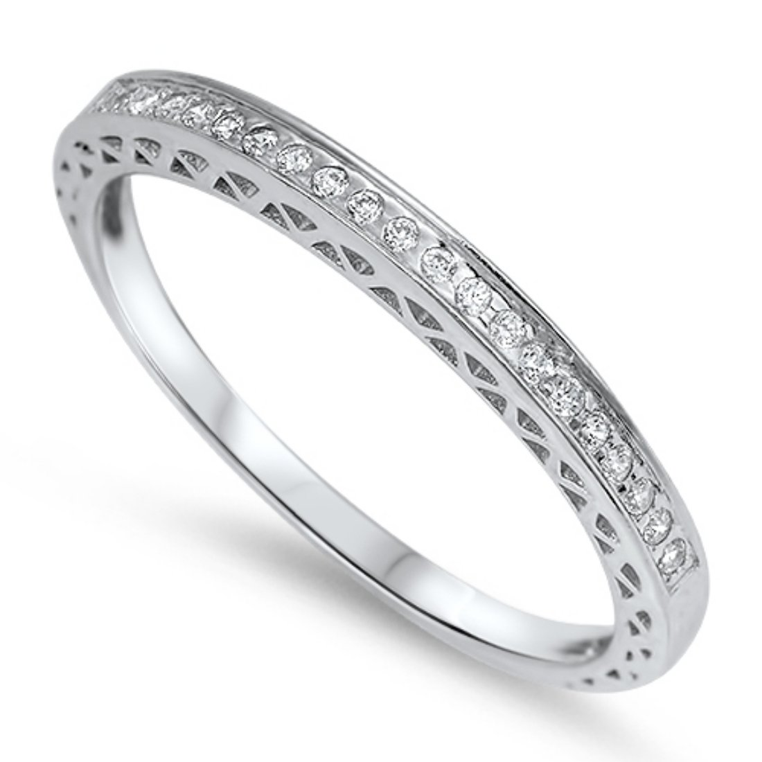 2mm Thin Half Eternity Band Ring Round Cubic Zirconia 925 Sterling Silver Band for Ring Wedding 4-10