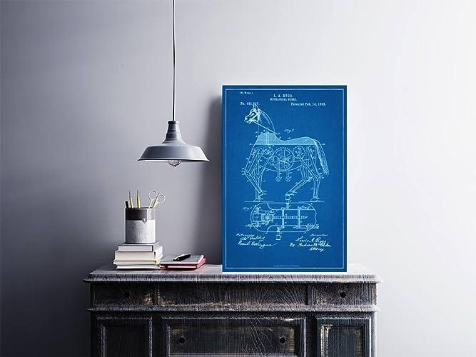 Amazon mechanical horse patent blueprint style art print mechanical horse patent blueprint style art print 18quot malvernweather Gallery
