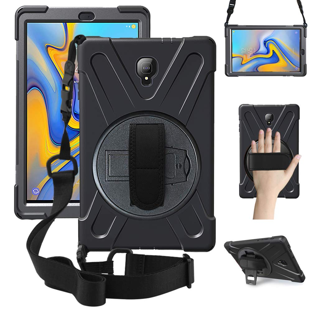 ZenRich Samsung Galaxy Tab A 10.5 Case 2018, zenrich SM-T590/T595/T597 Heavy Duty Rugged Case with Kickstand Hand Strap and Carrying Shoulder Belt for Galaxy Tab A 10.5 2018 Tablet, Black