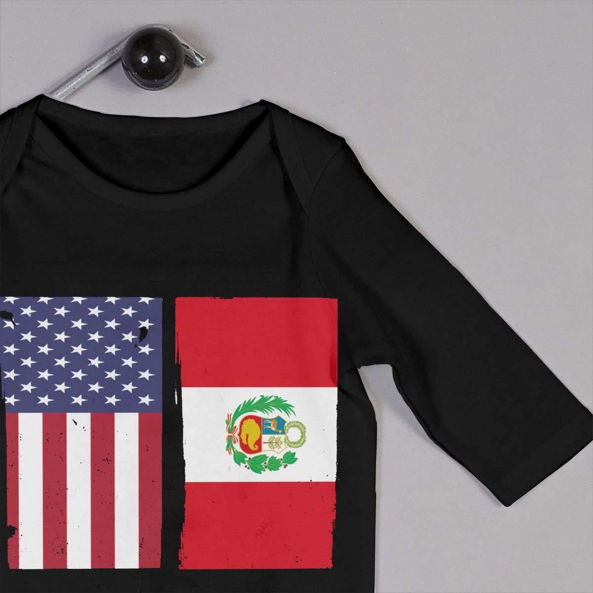 UGFGF-S3 Peru Flag USA Flag Retro Baby Boy Girl Long Sleeve Romper Jumpsuit Kid Pajamas