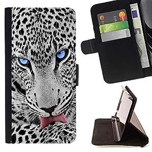 BullDog Case - FOR/Samsung Galaxy Note 3 III / - / BLUE EYE SNOW LEOPARD /- Monedero de cuero de la PU Llevar cubierta de la caja con el ID Credit Card Slots Flip funda de cuer