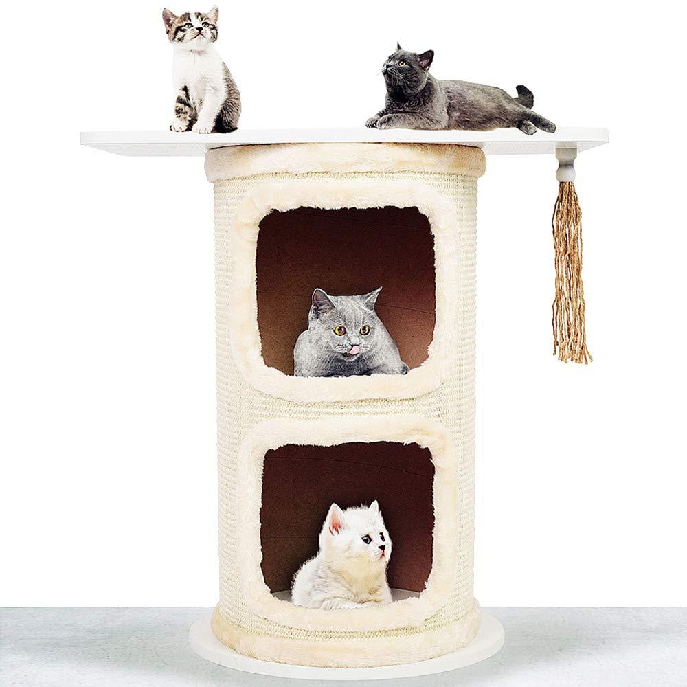 Double Cat Climbing Tree Sisal Barrel Cat Tower Kitten Puppy Playing Climbing House Pet Supplies Crawling Tool