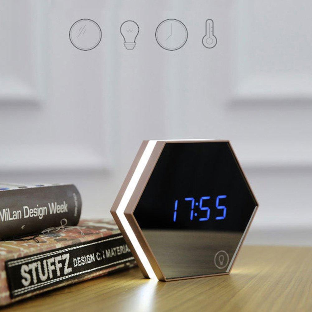 Rosenice - Specchio Esagonale + Termometro, con luce notturna touch a LED e orologio digitale (bianco)